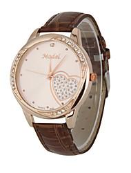 Mulheres Relógio Elegante Relógio de Moda Relógio de Pulso Quartzo Calendário Resistente ao Choque Mostrador Grande Couro Legitimo Banda