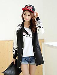 Women's Casual/Print Long Sleeve Jackets , Cotton/Others Medium Long