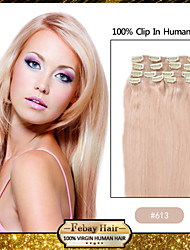 "20 ""bleekwater blonde (# 613) 8 stuks clip in remy human hair extensions"