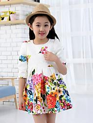 Girl'S Sweet Flower Print Dress  , Winter/Fall