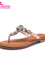 MeiRie'S Women's Shoes Faux Leather/Leatherette Flat Heel Flip Flops Sandals Casual Pink/Silver/Gold