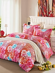 Red Floral Cotton Bedding Set Of 4pcs