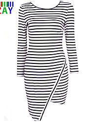 ZAU Women's Classical Stripe Round Neck Long Sleeve Asymmetrical  Dress