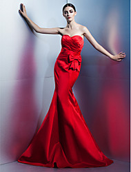 Mermaid / Trumpet Sweetheart Floor Length Satin Formal Evening Dress with Bow(s) Side Draping by TS Couture®