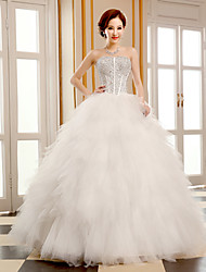 Ball Gown Wedding Dress Floor-length Strapless Tulle with Beading