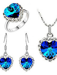 Haofeng Women's Korean-style High Quality Simple Cute Mosaic Zircon Silver-plated Ring Necklace and Earrings Set