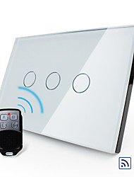 Livolo US/UA Standard Remote Switch, Crystal Glass Panel, 3 Gang 2Way, White/Black Color, VL-C303SR-81/82
