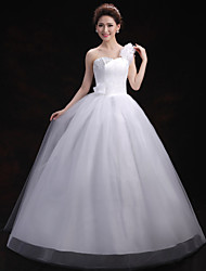 Ball Gown Wedding Dress-Floor-length One Shoulder Tulle