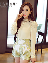 Pink Doll®Women's Stand Casual Party Lace OL Patchwork Puff Sleeve Shirt