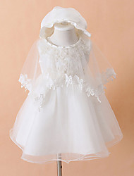 Ball Gown Knee-length Flower Girl Dress - Cotton / Tulle / Polyester Sleeveless Jewel with