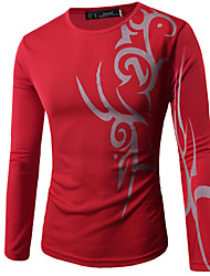 Men's Fashion Printed Round Neck Long Sleeved Tattoo T-shirt