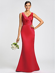 Dress Trumpet / Mermaid V-neck Sweep / Brush Train Satin with Sash / Ribbon / Criss Cross