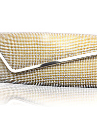 Women 's diamond /Silk Minaudiere Shoulder Bag/Clutch/Evening Bag - Gold/Silver