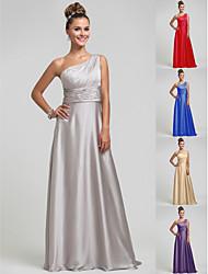 Wedding Party/Formal Evening/Military Ball Dress - Silver Sheath/Column One Shoulder Floor-length Satin Chiffon