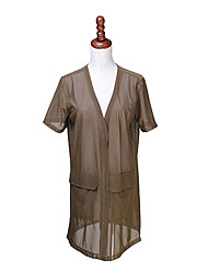 Women's Solid White/Green Blouse , Casual V Neck Short Sleeve Mesh