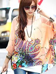 Women's Round Tops & Blouses , Chiffon Print ¾ Sleeve qingshadieying