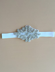 Jarretière Satin Stretch Strass Blanc