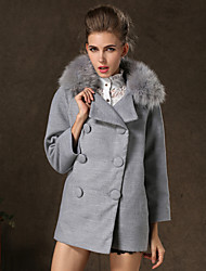 Manteau Aux femmes Manches Longues Vintage/Décontracté/Travail Laine/Cachemire/Polyester