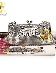 Women 's Polyester Fold over Clutch Clutch - Gold/Silver/Black