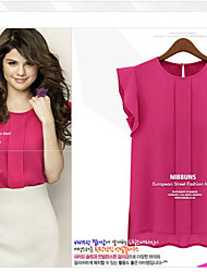 Women's Round Tops & Blouses , Chiffon Bodycon/Casual Short Sleeve qingshadieying