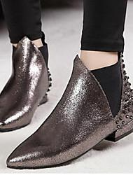 Zapatos de mujer Cuero Tacón Robusto Puntiagudos Botas Casual Negro