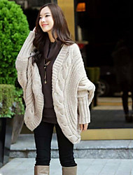 Women's Ruched Coats & Jackets , Cotton Sexy/Cute Long Sleeve B.L.S