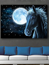 E-HOME® Stretched LED Canvas Print Art The Moon And The Horse LED Flashing Optical Fiber Print