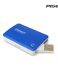 Pisen 4-in-1 Card Reader for SD/MS/TF/Micro SD/M2 Cards with Foldable USB Port Blue