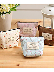 Women Coin Purse Canvas Casual Zipper White Brown Blushing Pink Light Blue