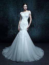 Trumpet/Mermaid Chapel Train Wedding Dress - Off-the-shoulder Tulle