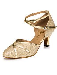 Customizable Women's Dance Shoes Leatherette Leatherette Modern Heels Flared Heel Practice / Beginner / Professional / Indoor Silver