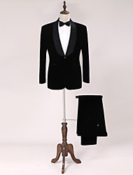 Tuxedos Standard Fit Shawl Collar Single Breasted One-button Fleece Solid 2 Pieces Black