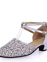 Women's Dance Shoes Sandals PailletteLow Heel Gold/Silver