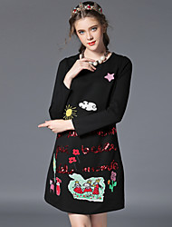 Autumn Women Clothing Vintage Embroidery Sequins Plus Size Elegant Fashion Long Sleeve Loose Party/Casual/Work Dress