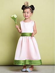 Lanting Bride A-line Ankle-length Flower Girl Dress - Satin Sleeveless Scoop with