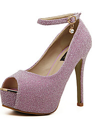 Women's Shoes Glitter Stiletto Heel Heels/Peep Toe Pumps/Heels Outdoor/Dress Black/Purple/White