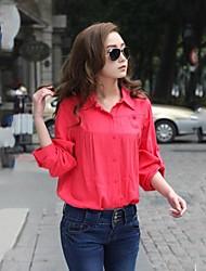 Women's Casual Micro-elastic Long Sleeve Long Blouse (Cotton)