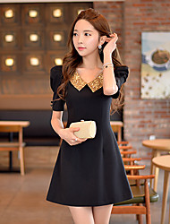 Women's Solid Black Dress , Vintage/Bodycon/Party Peter Pan Collar Short Sleeve Sequins