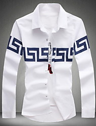 Men's Large Size Long Sleeve Cotton Casual National Print  Shirt