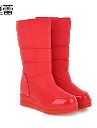 Women's Shoes Faux Leather Flat Heel Snow Boots Boots Office & Career/Casual Black/Blue/Red/White