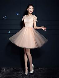 Коктейльное платье - короткое короткое короткое короткое / мини-тюль с кружевной отделкой из хрусталя