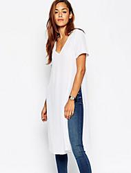 Damen Solide Einfach Lässig/Alltäglich T-shirt,V-Ausschnitt Sommer Langarm Weiß Baumwolle Mittel