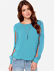 Women's  Vintga Sexy Casual Cute Work,Long SleeveRound Neck Hollow Out Shirt(Chiffon)