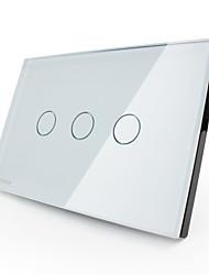 Livolo US/UA Standard Dimmer Switch, Crystal Glass Panel,3 Gang1Way, White/Black Color, VL-C303D-81/VL-C303D-82