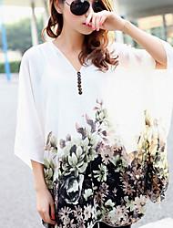 Women's V-Neck Tops & Blouses , Chiffon/Polyester Print Sleeveless qingshadieying