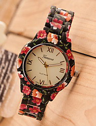 Lady's Fashion Floral Geneva Watch Garden Beauty Flower Plastic Band