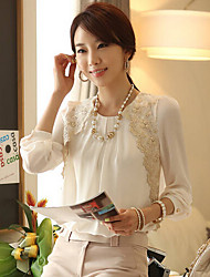 Women's Round Neck Lace Blouse , Chiffon Long Sleeve