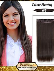 5 clips longo castanha direto (# 8) grampo de cabelo sintético em extensões de cabelo para senhoras