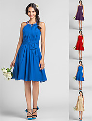 Homecoming Bridesmaid Dress Knee Length Chiffon Sheath Column Halter High Neck Dress