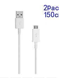 2pack 1.5m v8 micro usb cavo dati rotonda per Samsung e l'altro telefono